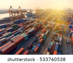 container ship in export and... | Shutterstock . vector #533760538