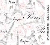 paris city landmark eiffel... | Shutterstock .eps vector #533763223