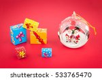 transparent christmas ball with ... | Shutterstock . vector #533765470