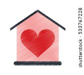 drawing house love heart... | Shutterstock .eps vector #533767228