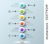 six multicolored hexagons... | Shutterstock .eps vector #533779249