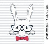 rabbit hipster. hand drawn...