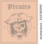 pirate head skull postcard ...   Shutterstock .eps vector #533783590