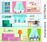 big set of detailed interior.... | Shutterstock .eps vector #533790256