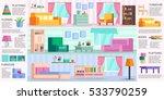 big set of detailed interior.... | Shutterstock .eps vector #533790259