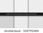 Stock vector collection of seamless geometric minimalistic patterns 533792404