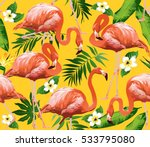 flamingo bird and tropical... | Shutterstock .eps vector #533795080