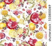 Watercolor pattern with berries, currant, blackberry, raspberry. Tropical fruit lemon, orange, pomegranate, fig. Illustration.