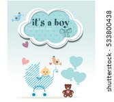 it's a baby boy. new born card  ... | Shutterstock .eps vector #533800438