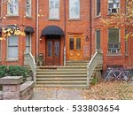 front steps of old row houses... | Shutterstock . vector #533803654