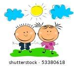 happy kids. | Shutterstock .eps vector #53380618