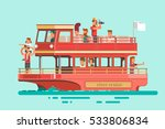 tourists on cruise ship sailing ... | Shutterstock .eps vector #533806834