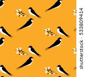two swallows and branch with... | Shutterstock .eps vector #533809414