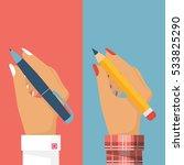 pencil and pen in women hand ... | Shutterstock .eps vector #533825290
