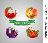 fresh fruits icon. vector... | Shutterstock .eps vector #533831074