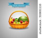 fresh fruits in wicker basket... | Shutterstock .eps vector #533831110