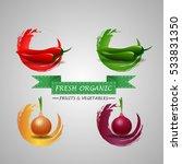 fresh fruits chilli  peppers... | Shutterstock .eps vector #533831350