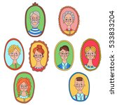 cute colorful family portraits... | Shutterstock .eps vector #533833204