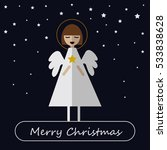 merry christmas. smiling angel... | Shutterstock .eps vector #533838628