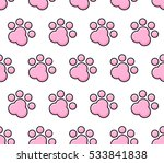 pet paw colorful line pattern... | Shutterstock .eps vector #533841838
