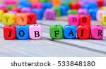job fair words on wooden table | Shutterstock . vector #533848180