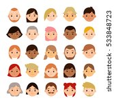 set of different cartoon female ... | Shutterstock .eps vector #533848723