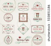 vintage retro coffee labels and ... | Shutterstock .eps vector #533851186
