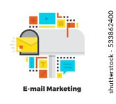 e mail marketing flat icon.... | Shutterstock .eps vector #533862400
