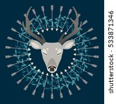 deer surrounded by arrows... | Shutterstock .eps vector #533871346