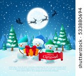 cartoon snowmen with gift and... | Shutterstock .eps vector #533880694