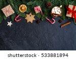 dark christmas background with... | Shutterstock . vector #533881894