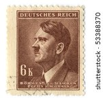 Small photo of GERMANY - CIRCA 1937: An GERMANY Used Postage Stamp showing Portrait of Adolf Hitler, circa 1937.