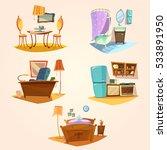 interior cartoon retro set with ... | Shutterstock . vector #533891950
