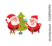 two funny santa decorate the... | Shutterstock .eps vector #533896594