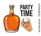 rum alcohol bottle and hand... | Shutterstock .eps vector #533896624