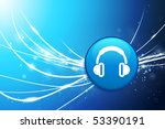 headphones button on blue...