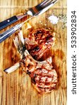 chop steak slices. wooden... | Shutterstock . vector #533902834