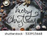 christmas composition. merry... | Shutterstock . vector #533915668