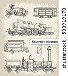 vehicles  vintage set  | Shutterstock .eps vector #533919178