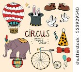 circus elements coloring set... | Shutterstock .eps vector #533929540