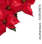 Christmas border with three red ...