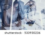 young womans working in modern... | Shutterstock . vector #533930236