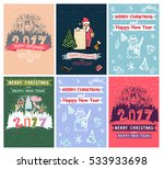 collection of 6 christmas card... | Shutterstock . vector #533933698