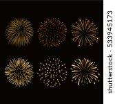 fireworks set gold isolated.... | Shutterstock .eps vector #533945173