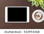 mock up tablet blank screen on... | Shutterstock . vector #533951068