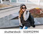 joyful fashionable young woman... | Shutterstock . vector #533952994