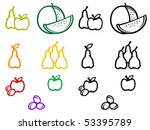 set of fruits symbols isolated... | Shutterstock .eps vector #53395789