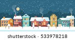 snowy night in cozy town city... | Shutterstock .eps vector #533978218