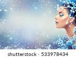 Winter Beauty Woman. Christmas...