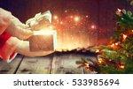 santa claus opens gift box ... | Shutterstock . vector #533985694